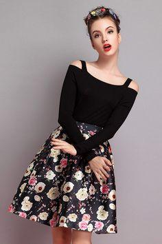 Black High Waist Floral Flare Skirt 18.83