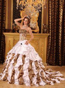 Colorful Court Train Leopard Print Corset Quinceanera Dresses - Quinceanera 100