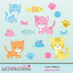 Cute Kittens Cute Digital Clipart for Card Design, Scrapbooking, and Web Design Cats, mice, fish Pretty Drawings, Beautiful Drawings, Fair Theme, Planners, Cute Scrapbooks, Cute Clipart, Cat Drawing, Digital Stamps, Cute Stickers