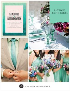 Pantone Lucite Green will add a romantic touch to your wedding celebration. Pair it with pops of deep rich burgundy flowers, or add pink and blue hues to your bouquets for a theme you will never forget.