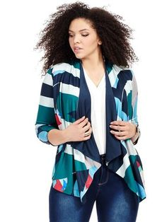 Jete Abstract Geometric Printed Cascading Jacket Available in Sizes L to 5X