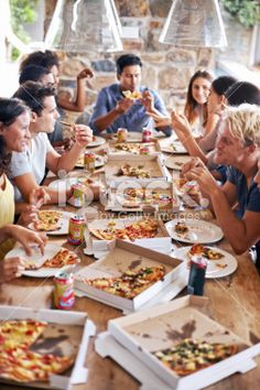 What's better than pizza and friends? Royalty Free Stock Photo