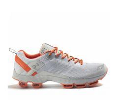 men's ON Cloudsurfer or Cloudracer running shoes in silver/orange @holabirdsports #shoes #fitness #sport #running #ON #ONrunning #Cloudsurfer #Cloudracer #white #orange #holabirdsports