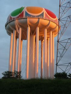 Worlds of Fun Amusement Park water tower - Kansas City Kansas City Missouri, Missouri River, Roadside Attractions, Water Tank, Roller Coaster, Worlds Of Fun, Windmill, Places To See, City North