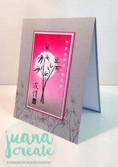 handmade thank you crd by Juan Ambida Independent Stampin' Up!® Demonstrator Australia: Artistically Asian ... bamboo ... serene gray with vibrant hot pink ...