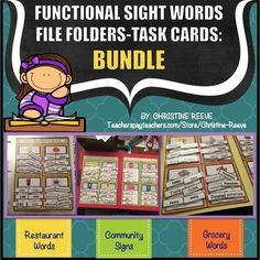 Functional Sight Words Interactive File Folders-Bundle These tasks are designed for students learning and demonstrating comprehension of functional sight words comprehension of functional sight words including community signs, grocery words and restaurant / fast food words.
