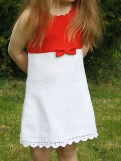 Girls summer dress White and red Knit 100 cotton by Leiladelle, £25.50