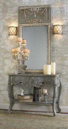 I like the brick wall treatment. it would be awesome for my fireplace. vintage furniture