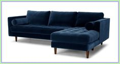 There's a reason this is our most popular sofa. This modern take on a mid-century classic features crisp lines, a tufted benchseat, and three luxuriously stuffed back cushions. Two matching round bolsters complete the look. L Shaped Leather Sofa, L Shaped Sofa, Tufted Sectional, Modern Sectional, Blue Sectional, Sofa Sofa, L Couch, Blue Sofas, Sleeper Couch