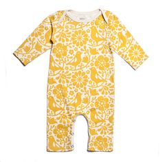34€,Long-Sleeve Romper - Birds and Flowers, gelb, 100 % Bio-Baumwolle - Winter Water Factory