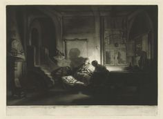 James McArdell | Hollands interieur, James McArdell, Rembrandt Harmensz. van Rijn, 1738 - 1765 |