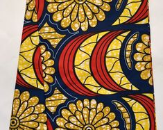 African Print Fabric/ Ankara - Yellow, Red/ Orange,Blue 'Surulere', Per Yard Ankara Fabric, African Fabric, Agbada Styles, Bold Jewelry, Jewellery, Kente Styles, Cotton Texture, African Print Fashion, Main Colors
