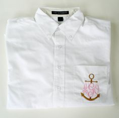 Anchor Monogram Men's Button Down Oxford by HappilyEverAfterXOXO, $38.00