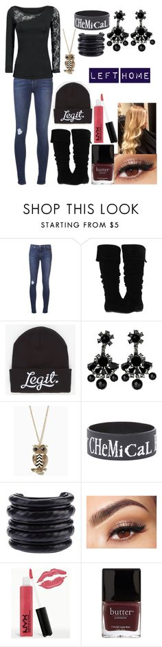 """Left Home"" by imonlyalone ❤ liked on Polyvore featuring J Brand, Gabriella Rocha, Neff, By Malene Birger, Hôtel Particulier, Lancôme, NYX and Butter London"