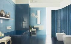 No 1527 Striking blue wall and floor tiles