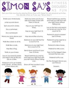Simon Says Active Kids FREE printable activity for healthy kids (Fitness Routine Free Printable)