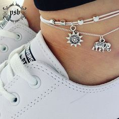 Hot Ankle Bracelet Foot Leg Chain With Silver Color Elephant Charm