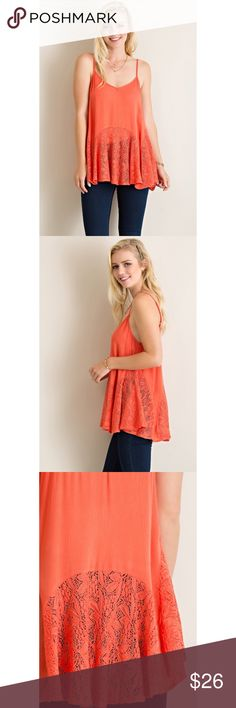 >>SALE<< Love Your Sway Lace Tank - Coral Add a little elegance to your wardrobe with the Love Your Sway Lace tank! Solid crinkle flar slip tunic top with beautiful dainty lace details. Adjustable strap, partially see through, non-sheer. Lightweight for the perfect summer day.   100% Rayon. . . If you would like to make an offer, please use the OFFER BUTTON. {10% discount on all 2+ orders} . . FOLLOW US✌️ Insta : shop.likenarly Facebook: likenarly Website : likeNarly.com likeNarly Tops…
