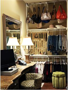 Dressing room closet - Inspiring Spaces Walk in Closet – Dressing room closet Purse Storage, Closet Storage, Closet Organization, Jewelry Storage, Organization Ideas, Jewelry Organization, Necklace Storage, Clothing Storage, Jewelry Holder