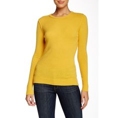 Autumn Cashmere Raw Edge Cashmere Sweater ($130) ❤ liked on Polyvore featuring tops, sweaters, mustard, yellow cashmere sweater, crewneck sweater, women tops, yellow top and autumn cashmere sweaters