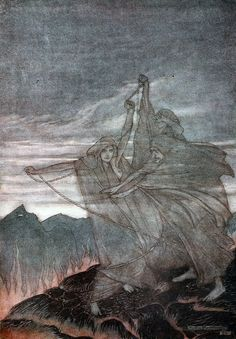 Siegfried & The twilight of the gods' by Richard Wagner; with illustrations by Arthur Rackham ; translated by Margaret Armour. Published 1911 by William Heinemann Arthur Rackham, Arte Latina, Richard Wagner, John Howe, Old Norse, Norse Pagan, Fairytale Art, Norse Mythology, Gods And Goddesses