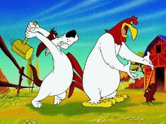"""Foghorn Leghorn is a character that appears in Looney Tunes. He is a large, white adult Leghorn rooster with a Southern accent, """"good ol' boy"""" speaking style, & a penchant for mischief. He & George P. Dog engaging in one-upmanship through with pranks. Henery Hawk is a tiny, brown chicken hawk. Henery strikes out on his own, eager to capture a chicken. Having led a sheltered life, however, he does not know what a chicken looks like, only that chicken hawks eat them."""