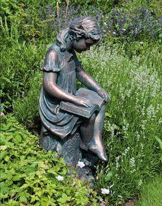 garden statues girl reading garden statue bronze effect sculpture Magic Garden, Dream Garden, Statue En Bronze, Reading Garden, Girl Reading, Sat Reading, Reading Time, Reading Books, My Secret Garden