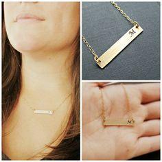 Gold Bar Necklace Monogram Necklace by vintagestampjewels on Etsy, $30.00