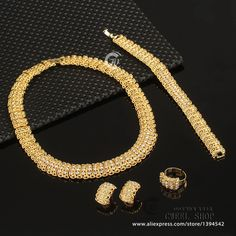 Bardouilles.... African  jewelry set Gold Plated Fashion Necklace, Earrings ,Bracelet, Ring For Her! She won't be missed!