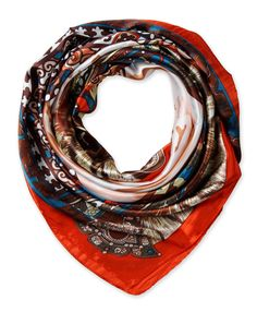 "Corciova®  35"" Silk-like Big Square Scarf 35 x 35 (Totems brown orange background)"