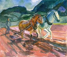 Plowing Horses Edvard Munch (1919-1920) Munch-musee Painting - oil on canvas