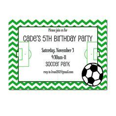 Soccer Party invitation Boy's Birthday Invitation by peachymommy, $14.00