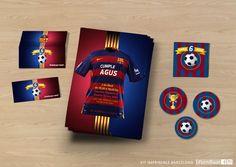 Un kit imprimible de cumpleaños para niños fanáticos del FC Barcelona
