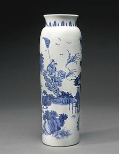 A fine blue and white sleeve vase, Ming dynasty, Chongzhen period 1
