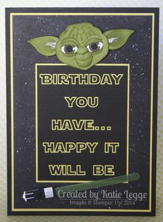 Stampin' Up! Star Wars Yoda card created by Katie Legge #StarWars #Yoda #StarWarsDay #Maythe4thbewithyou #PunchArt http://rachelleggestampinup.wordpress.com/2014/05/04/may-the-4th-be-with-you/