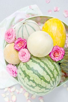 miss you summer! #watermelon #cantaloupe #flowers