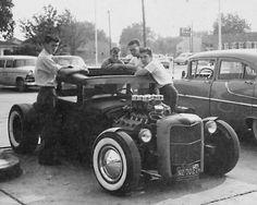 1950s Hot Rodders-  Hot Rodding was booming in California and spreading across cities and small towns throughout America. Most fifties Hot Rodders belonged to a car club, they wore Levis, T-shirt, engineer boots and a leather jacket.  jj
