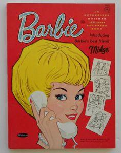 Vintage Barbie Coloring Book introducing Midge, 1963
