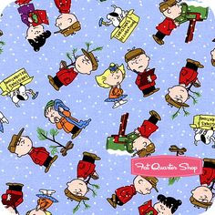 A Charlie Brown Christmas Blue Character Toss Yardage SKU# 22155-B - Christmas Cloth Store