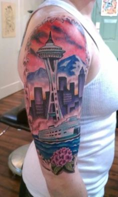 Seattle is such a beautiful city, I'm not surprised someone got the skyline tattooed on them :)