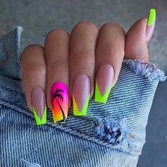 green and yellow pink and orange neon nail polish nail tip designs black palm tree long coffin nails Neon Green Nails, Neon Nails, Orange Nails, Diy Nails, Cute Nails, Pretty Nails, Wedding Nail Polish, Neon Nail Polish, Nail Tip Designs
