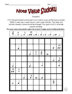 Test students problem solving skills and their ability to identify basic music symbols with this musically themed sudoku puzzle. Instead of numbers, students must be sure each music symbol is only in one row, one column, and only seen once in each 9 square box.