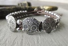Sugar skull leather bracelet sK Revivals Collection by slashKnots, $148.00