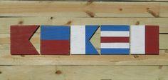 Nautical Flag Alphabet Customizable Nautical by PrimitiveWoodSigns Nautical Flag Alphabet, Nautical Names, Nautical Flags, Flags With Names, Room Ideas, Navy, Unique Jewelry, Beach