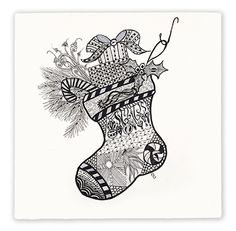 Zentangled Christmas stocking