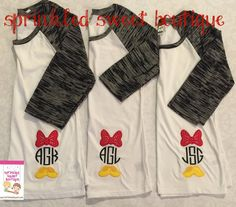 Minnie Inspired Bow Shoes Mouse Monogram Raglan Baseball Shirt Applique  Custom Womens Shirt Family Perfect for a Disney World Trip