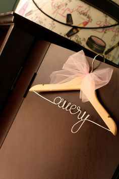 Personalized Children's Decorative Wooden Wire Hanger w/ Bow