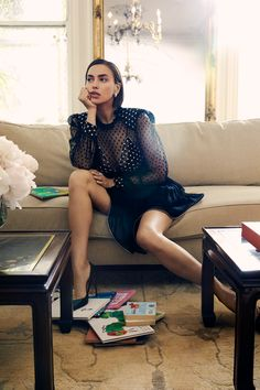 Irina Shayk Talks Being Always Real In Zoey Grossman Images For Harper's Bazaar Online Summer 2019 — Anne of Carversville Russian Beauty, Russian Fashion, Saint Laurent Dress, Balmain Dress, Burberry Jacket, Blouse And Skirt, Harpers Bazaar, Mannequin, How To Look Pretty