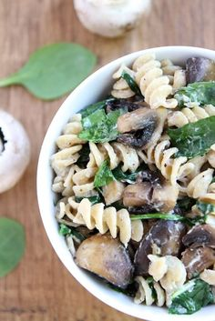 Creamy Goat Cheese Pasta with Spinach & Mushrooms from www.twopeasandtheirpod.com #vegetarian #meatless #recipe