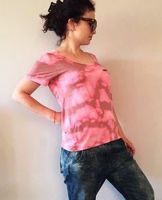 Tie Dye Pink Tan T-shirt Hand Bleached Unique Women by NEIandMO